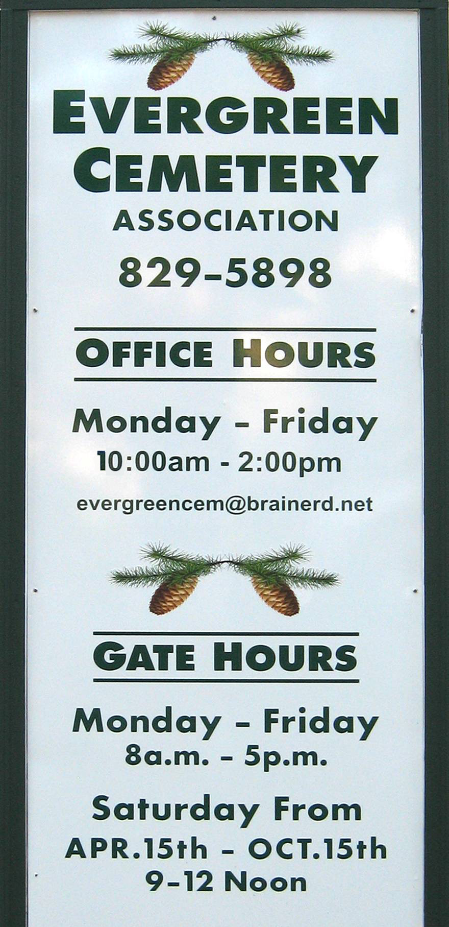 Evergreen Cemetery Office Hours